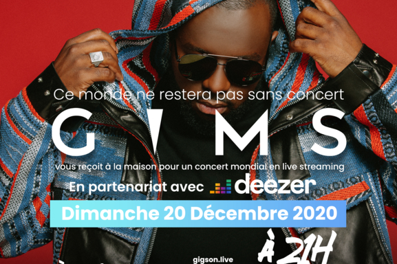 """""""Gims"""" l'artiste au 5 millions d'albums en concert ce 20 décembre 2020, ca se passe en ligne et vous êtes invité !"""