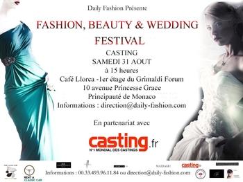 """Casting """"Fashion, Beauty & Wedding festival"""" le 31 Août à Monaco avec Casting.fr !"""