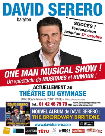 "Le baryton international David Serero donne son ""One Man Musical Show"" au Théâtre du Petit Gymnase"